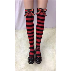 Lovely Stockings, Sexy Thigh Highs Stockings, Red-black Strips Cosplay Stockings, Christmas Color Bowknot Cosplay Thigh High Stockings, Stretchy Nightclub Knee Stockings, #HG18521