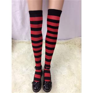 Lovely Stockings, Sexy Thigh Highs Stockings, Red-black Strips Cosplay Stockings, Maid Cosplay Thigh High Stockings, Stretchy Nightclub Knee Stockings, #HG18516