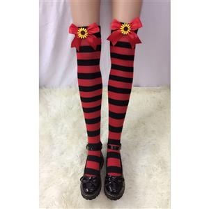 Lovely Stockings, Sexy Thigh Highs Stockings, Red-black Strips Cosplay Stockings, Red Bowknot with Sunflower Cosplay Thigh High Stockings, Stretchy Nightclub Knee Stockings, #HG18535
