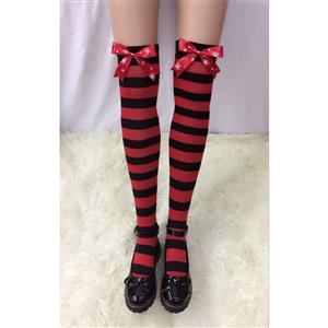 Lovely Stockings, Sexy Thigh Highs Stockings, Red-black Strips Cosplay Stockings, Red Snowflake Printed Bowknot Cosplay Thigh High Stockings, Stretchy Nightclub Knee Stockings, #HG18517
