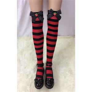 Lovely Stockings, Sexy Thigh Highs Stockings, Red-black Strips Cosplay Stockings, Spots Bowknot with Strawberry Cosplay Thigh High Stockings, Stretchy Nightclub Knee Stockings, #HG18536