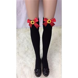 Lovely Black Stockings, Sexy Thigh Highs Stockings, Pure Black Cosplay Stockings, Sunflower  Thigh High Stockings, Red Bowknot Stocking, Stretchy Nightclub Knee Stockings, #HG18466