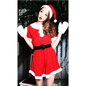 Cheap Red White Velvet Christmas Dress, Fashion Warm Christmas Costume, Comfortable Girl Christmas Dress Costume, #XT9828