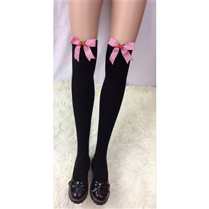 Lovely Black Stockings, Sexy Thigh Highs Stockings, Pure Black Cosplay Stockings, Cherry Thigh High Stockings, Red Grid Bowknot Stocking, Stretchy Nightclub Knee Stockings, #HG18476