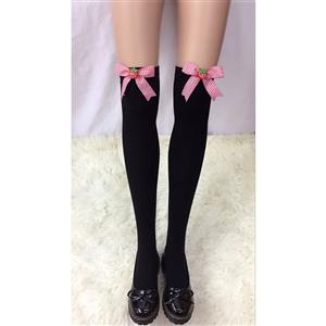 Lovely Black Stockings, Sexy Thigh Highs Stockings, Pure Black Cosplay Stockings, Strawberry Thigh High Stockings, Red Grid Bowknot Stocking, Stretchy Nightclub Knee Stockings, #HG18477