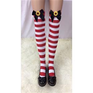 Cute Red-white Strips Stockings, Sexy Thigh Highs Stockings, Red-white Strips Cosplay Stockings, Sunflower Thigh High Stockings, Stretchy Nightclub Knee Stockings, #HG18502