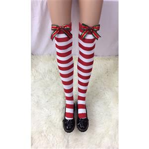 Cute Red-white Strips Stockings, Sexy Thigh Highs Stockings, Red-white Strips Cosplay Stockings, Christmas Color Bowknot Thigh High Stockings, Stretchy Nightclub Knee Stockings, #HG18503
