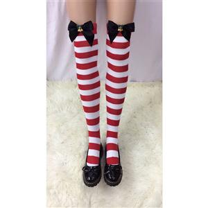 Cute Red-white Strips Stockings, Sexy Thigh Highs Stockings, Red-white Strips Cosplay Stockings, Red Bowknot Thigh High Stockings, Stretchy Nightclub Knee Stockings, #HG18493