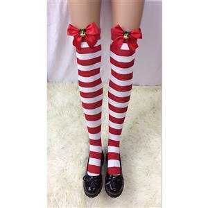 Cute Red-white Strips Stockings, Sexy Thigh Highs Stockings, Red-white Strips Cosplay Stockings, Red Bowknot Thigh High Stockings, Stretchy Nightclub Knee Stockings, #HG18492