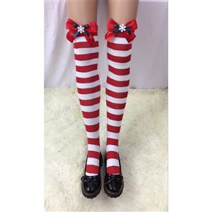 Cute Red-white Strips Stockings, Sexy Thigh Highs Stockings, Red-white Strips Cosplay Stockings, Red Bowknot Thigh High Stockings, Stretchy Nightclub Knee Stockings, #HG18494