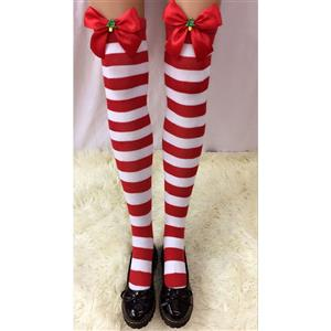 Cute Red-white Strips Stockings, Sexy Thigh Highs Stockings, Red-white Strips Cosplay Stockings, Christmas Tree Thigh High Stockings, Stretchy Nightclub Knee Stockings, #HG18495