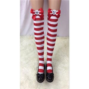 Halloween Stockings, Sexy Thigh Highs Stockings, Red-white Strips Cosplay Stockings, Skeleton Thigh High Stockings, Stretchy Nightclub Knee Stockings, #HG18505