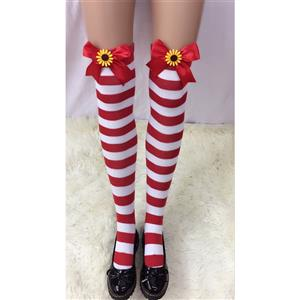 Cute Red-white Strips Stockings, Sexy Thigh Highs Stockings, Red-white Strips Cosplay Stockings, Sunflower Thigh High Stockings, Stretchy Nightclub Knee Stockings, #HG18501