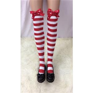 Cute Red-white Strips Stockings, Sexy Thigh Highs Stockings, Red-white Strips Cosplay Stockings, Snowflake Printed Thigh High Stockings, Stretchy Nightclub Knee Stockings, #HG18496