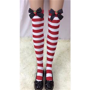 Lovely Stockings, Sexy Thigh Highs Stockings, Red-white Strips Cosplay Stockings, Strawberry Thigh High Stockings, Stretchy Nightclub Knee Stockings, #HG18508