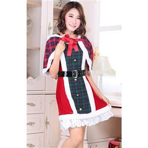 Lovely Red and Green Plaid Christmas Dress with Cape XT10908