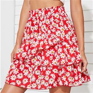 Daily Casual Mini Skirt, Beach Short Skirt, Cute Ruffle Hemline Skirt, Daisy Print Multi-layered Skirt, Girl