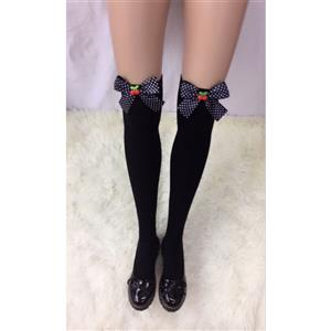 Lovely Black Stockings, Sexy Thigh Highs Stockings, Pure Black Cosplay Stockings, Cherry Thigh High Stockings, Spots Bowknot Stocking, Stretchy Nightclub Knee Stockings, #HG18468