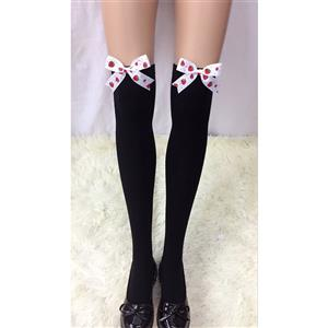 Lovely Black Stockings, Sexy Thigh Highs Stockings, Pure Black Cosplay Stockings, Strawberry Printed Thigh High Stockings, Black Spots Bowknot Stocking, Stretchy Nightclub Knee Stockings, #HG18480