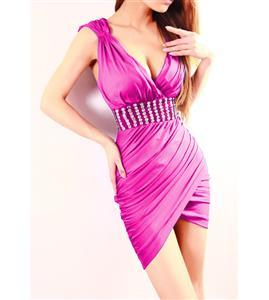 Asymmetrical Hem Cocktail Dress, Solid Color Dress, V Neck Solid Color Dress, #N6921