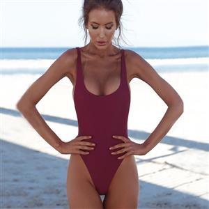 Backless One-piece Swimsuit, Low Cut Bodysuit Lingerie, Sexy Adjustable Straps Swimsuit Lingerie, Fashion Backless One-piece Beachwear, #BK17959