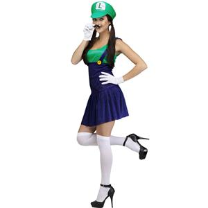 Sexy Halloween Costume, Pretty Plumber Luigi Adult Costume, Fancy Cosplay Dresses, #N9931