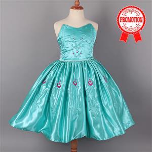 Frozen Elsa Strapless Princess Dress, Satin Off the Shoulder Frozen Dress, Luxury Frozen Elsa Coronation Dress, #N9011