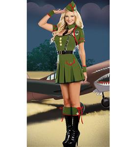 Major Trouble Costume, Green Khaki Costume Dress, Army Major Costumet, #M6646