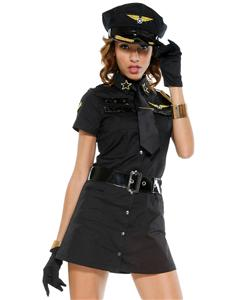 Sexy Pilot Girl Costume Black, Mile High Pilot Sheila B Bangin Costume, Mile High Pilot Costume, #N6314