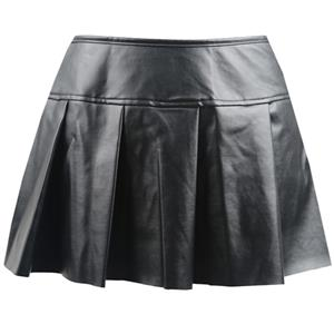 Faux Leather Skirt, Sexy Gothic Leather Skirt, Pleated Faux Leather Skirt, #HG8225