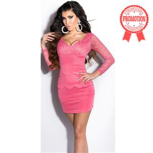 Meeting Pink minidress, Pink dress with lace, evening minidress, #N6835