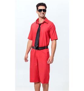 Red Jumpsuit Men, Cheap Short Jumpsuit, Casual Jumpsuit with Tie and Belt, Men