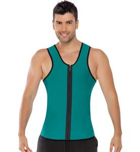 Neoprene Shirt with Zip Front, Men's Support and Sweat Enhancing Shirt, Reversible Black and Green Shirt, Men