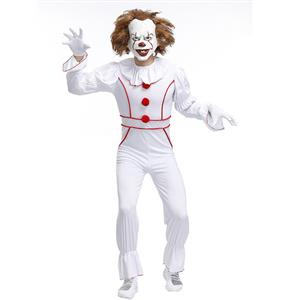 Pennywise Movie Horror Clown Scary Costume Halloween, Scary Burlesque Clown Cosplay Costume, Burlesque Clown Circus Party Costume Men, Scary Clown Role-palying Costume, Halloween Men Clown Costume, #N19398