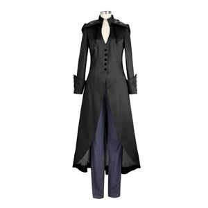 Victorian Gothic Vampire Frock Coat Medieval Renaissance Hoods Lace-up Costume N20998