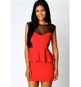 See Through Bodycon Peplum Rivet Dress, Rivet Office Short Dresses, Gold Studs Peplum Dress, #N7598