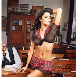 Sexy Adult School Uniform, Sexy Plaid Skirt Suit, Fashion Student Cosplay Lingerie Costume, Sexy Plaid Skirt Lingerie Costume, Sexy School Uniform Lingerie for Women, #N16522