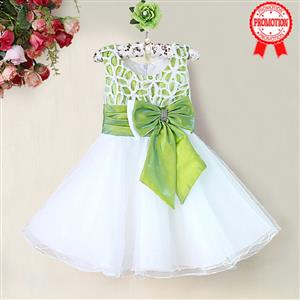 Green and White Birthday Girl Dress, Sleeveless Applique Work Princess Girl Dress, Mesh and Satin Occasion Dress, #N9092