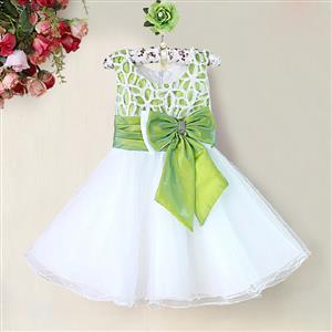 Green and White Birthday Girl Dress, Sleeveless Applique Work Princess Girl Dress, Mesh and Satin Occasion Dress, #N9092