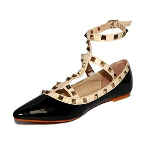 Openwork Design Flat Shoes, Studded Spike Flat Shoes, T-Strap Rivets Pointed Toe Shoes, #SWS12129