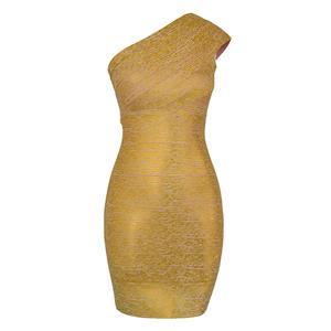 Sexy Bandage Dress for Women, Fashion Midi Bandage Dresses, Bodycon Bandage Party Dress, One Shoulder Bandage Dress, Women
