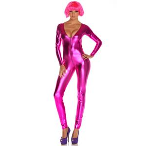 Rose Vinyl Leather Lingerie, Sexy Solid Front Zipper Jumpsuit, Rose Metallic Bodysuit, #N7892