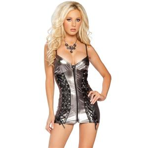 Metallic Zipper Front Mini Dress, zipper front metallic mini dress, lace up mini dress, #N4089