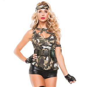 Sexy Army Costume, Temptation Military Costume, Sexy Self-Tie Military Costume, #N11487