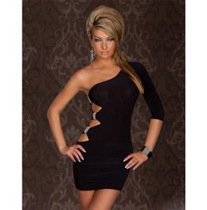 Sexy One Arm Mini Club Dress black, Mini Club Dress, black Dress, #N5129