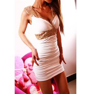 New Womens Sexy Sleeveless Dress, Sequin Little Dress, Party Club Wear White, #N6826