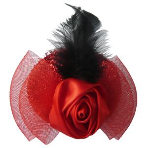 Mini Top Hat, Rose Mini Top Hat, Flower Accent Flannel Mini Top Hat, #J7059