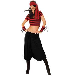Sexy Pirate Costume, Mistress Pirate Costume, Striped Pirate Mistress Costume, #P8545