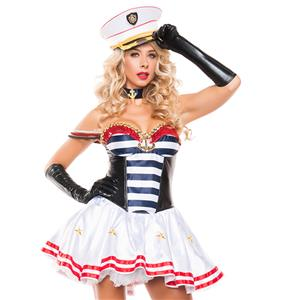Mistress Sailor Halloween Costume, White Sailor Costume, Adult Stripe Sailor Costume, #N11910