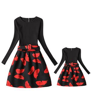 Mother and Daughter Vintage Dress, Fashion Mom&Me Clothing, Vintage Dress for Mom&Me, Dresses for Mom&Me, Long Sleeve Dress for Mother and Daughter, Floral Print Tank Mini Dress, #N15531